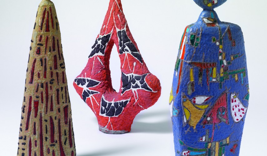 Vases 1960, 1958, 1966, terracotta, colombino molding, decoration with shiny and sanded enamels