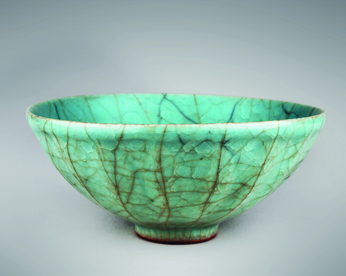 Celadon bowl, Sung Dynasty, heavily crazed