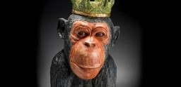 Chimp, Porcelain, 23 karat gold leaf